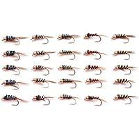 Lakeland - Juego de Suministros de Pesca M1GH 25 Moscas holográficas con Cabeza Dorada para Pesca con Mosca, Mixed Sizes 10-14