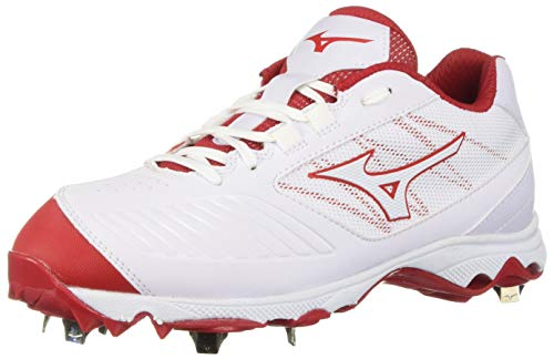 Mizuno Women's 9-Spike Advanced Sweep 4 Low Metal Softball Cleat Shoe, White/red, 6 B US