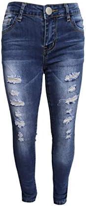 GUBA® Pantalones de mezclilla ajustados para niñas, pantalones vaqueros rasgados elásticos, pantalones de dise