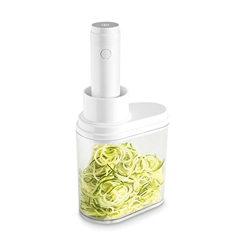 Coupe-légumes spirale électrique 100 W de KITCHEN CREW avec quatre embouts à découper en acier inoxydable pour réaliser des lamelles de légumes et de fruits, avec récipient collecteur pratique
