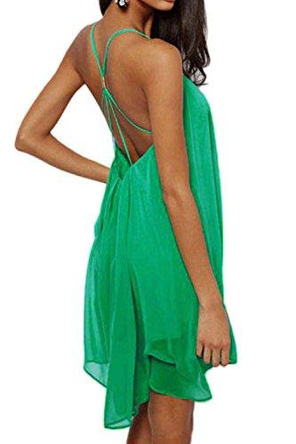 Donna Summer Scollato Vestito Scollato Beachwear Chiffon Swing Mini Green