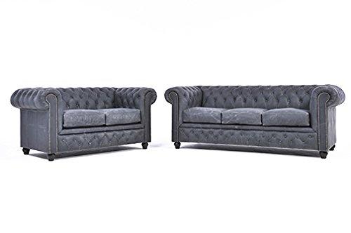 Original Chesterfield Sofas- 2 / 3 Sitzer – Vollständig Handgewaschenes Leder – Vintage Schwarz
