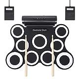 Mkxiaowei 9-Pad Faltbare Electronic Drum Set handgerollte e-Drum Rack Trommelmusik Gerät
