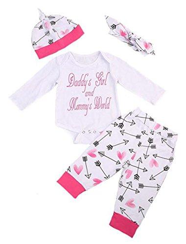 Chicolife Säuglings-Baby-Kleidung-Spielanzug-Overalls Pyjama mit Hut-Stirnband-Gamaschen 4PCS Spielanzug-Ausstattungen Neugeborenes