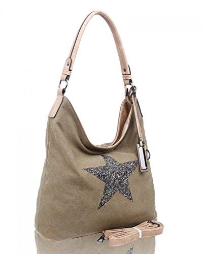 fb024bd32d55b LeahWard® Groß Schule Taschen Damen Segeltuch Schultertasche Handtasche A4  160163 160164 Khaki Glitter Star