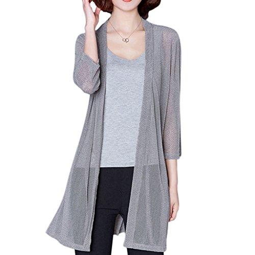 Wanfor Frauen plus Größe Strand vertuschen 3/4 Ärmel Floral lange Bluse Cardigan Sonnenschutz (Grau, 2XL) - Baumwolle Plus Größe Vertuschen