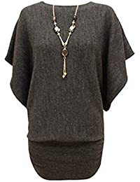 CANDY FLOSS LADIES KNITTED BATWING JUMPER DRESS TOP WITH NECKLACE SIZE 8-14