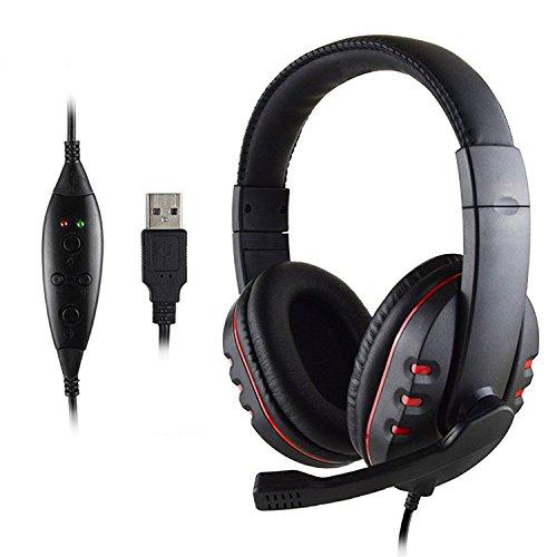 LESHP Leder USB Wired Stereo Mikrofon Kopfhörer Mic Headset für Sony PS3 PS4 PC Spiel