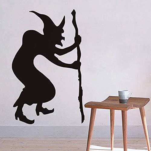 YXWYSQ Glöckner Hexe Halloween Wandaufkleber, Halloween Wandtattoos, Hexe Silhouette Wallpaper Halloween Dekoration Home Decor30x45cm