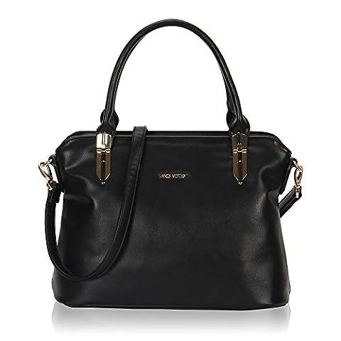 Veevan Classic Womens Shoulder Handbags Totes (Black)