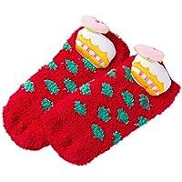 BESTOYARD Calcetines de Navidad Lana de Coral Resistencia al Deslizamiento Calcetines Calcetines creativos para bebés y niños pequeños (Patrón de niños Rojos, 1-5 años)