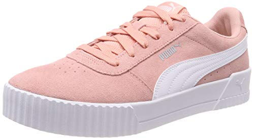 Puma Damen Carina Sneaker, Rosa (Peach Bud-Puma White-Puma Silver), 38.5 EU (Mädchen Puma Schuhe Größe 3)