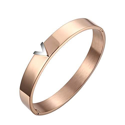 Armband aus Titanstahl, V-Form, Rotgold