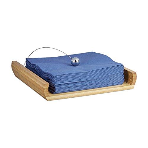 Relaxdays portatovaglioli, bambù, naturale, 22 x 22 x 4 cm