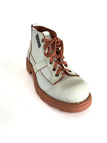 Oxs Mujer Vintage Zapatos De Cuero Raso Blanco Y Azul Blanco