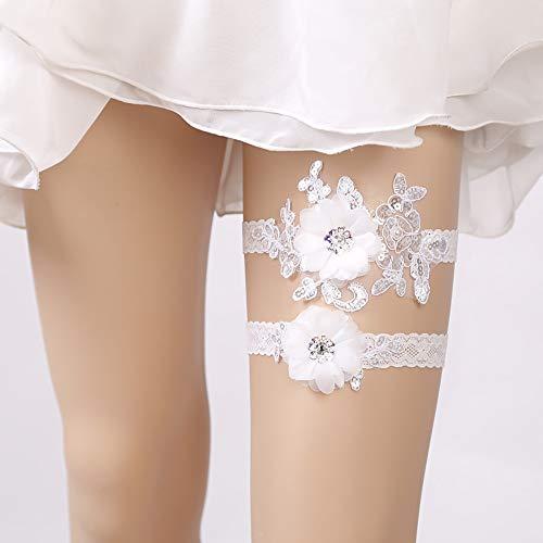 YYHSND Europäische Braut Strumpfband Bein Socken Hochzeit Dekorationen Mode Scatola del Tessuto - Perle Silber Beine