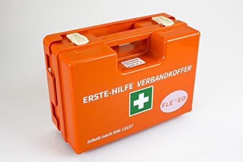 Erste-Hilfe-Koffer für Betriebe DIN 13157 in orange, Verbandkasten gefüllt und mit Wandhalterung