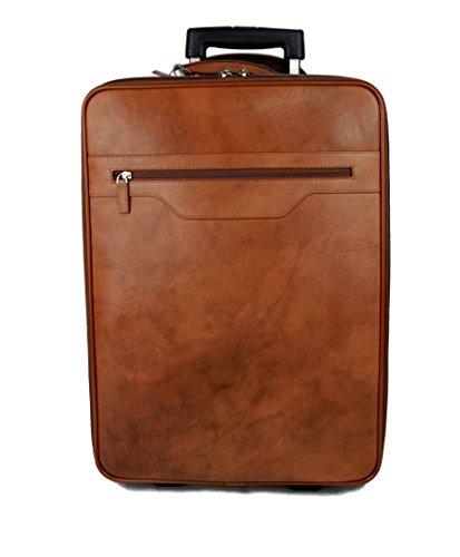 Trolley rígida maleta de cuero bolso de cuero de viaje hombre mujer marron bolso de cabina bolso de mano bolso con ruedas y asa bolso piel