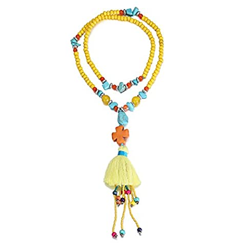 eManco Statement Yellow Wood Bead Necklace with Cross Stone Turquoise Tassel Pendant for Women Jewellery