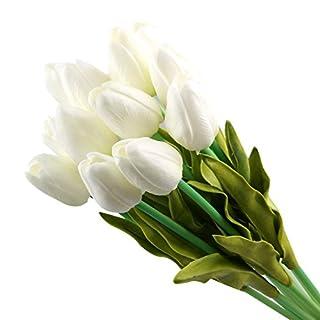 Ayouyou 10 Stück Latex Simulation künstliche Tulpe Hochzeits Blumensträuße Hause dekorative Blume Feuchtigkeitscreme Tulpe (Weiß) EINWEG Verpackung