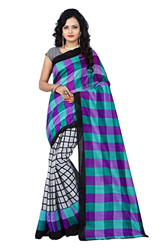 Shree Sainath Creation Bangalpuri Printed Multi Colour Sarees(SSC-BHAGALPURI-CHECKS-BLUE)
