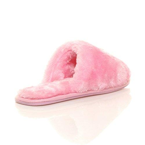 Femmes plat luxueux doux chaud fourrure doublée chaussons pointure Rose