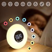 Wake Up Light, GLIME Despertador Control Remoto Luz Simulación Amanecer Despertador Digital/Radio FM/Luz Nocturna/Fecha/Temperatura Iluminación Colorida DC 5V Grifo/Control Remoto Luz