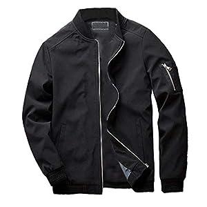 FRAUIT Mode Herren Einfarbig Zipper Jacke Herbst Winter Bomberjacke Übergangsjacke Leichte Jacke Casual Mäntel mit Stehkragen Top Outwear Bluse