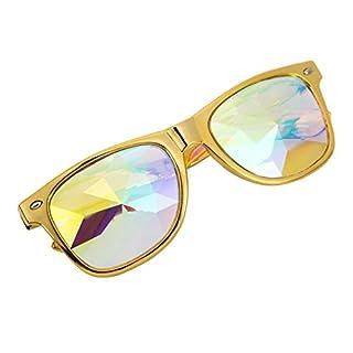 AFUT Kaleidoscope Steampunk Goggles Multicolor Lens Glasses Rainbow Rave Prism
