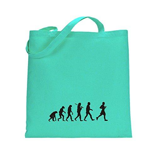 Shirtfun24 Baumwolltasche EVOLUTION JOGGER Jogging laufen, navy (blau) mint grün