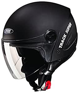 Studds Track Super Open Face Helmet (Matt Black, XL)