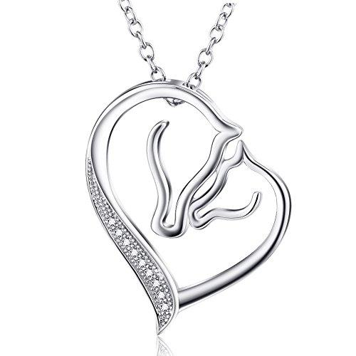 YFN Kette Damen 925 Sterling Silber Mutter und Kind Pferd Kopf Liebe Herz Anhänger Halskette, 45,7 cm Rolo Kette mit Geschenk Box
