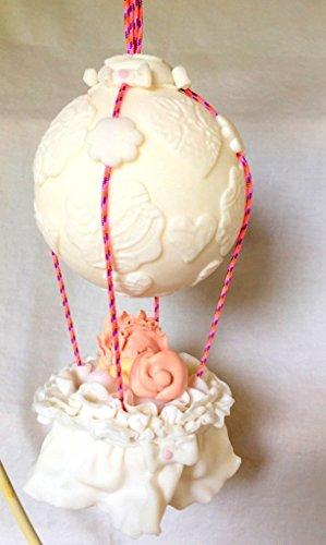 Fimo creativo/fatto a mano/personalizzabile/palloncino/bianco glitter, figurina, bambino, sospensione topper torta a mobile bambino/bambino/idea regalo.