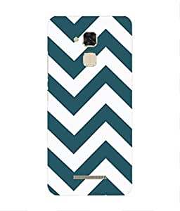 For Asus Zenfone Max ZC550KL -Livingfill- Zig Zag Blue Pattern Printed Designer Slim Light Weight Cover Case For Asus Zenfone Max ZC550KL (A Beautiful One of the Best Design with a Classic Theme & A Stylish, Trendy and Premium Appeal/Quality) (Red & Green & Black & Yellow & Other)