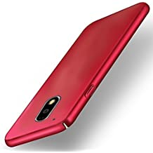 FUSON Full Body Protection 360 Degree ipaky Hard Case Hybrid Front and Back Case Cover and Tempered Glass for Motorola Moto G4 Plus (Red)