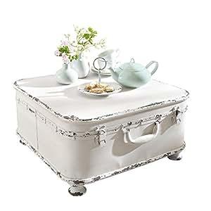 miavilla table basse avec coffre int rieur en m tal blanc shabby chic 50 x 50 x 25 cm. Black Bedroom Furniture Sets. Home Design Ideas