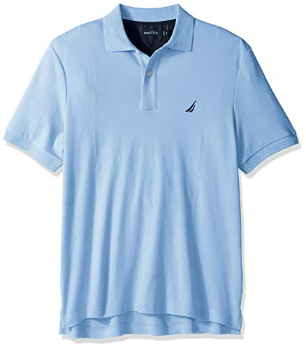 Nautica Herren Classic Fit Short Sleeve Solid Soft Cotton Polo Shirt Poloshirt, Noon Blue, 4X-Larget Hoch -