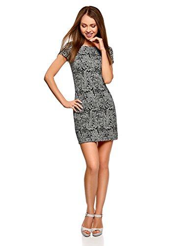 oodji Ultra Damen Jerseykleid mit Druck, Schwarz, DE 40 / EU 42 / L