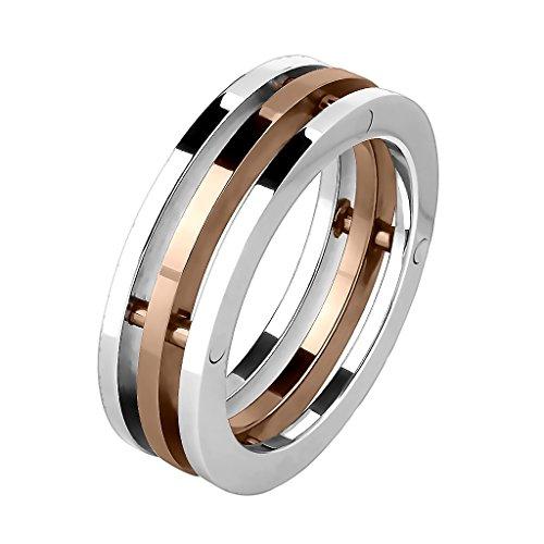 Mianova Band-Ring Edelstahl poliert 3 Reihen Teilig Herrenring Damenring Partnerring Trauring Damen Herren Silber Rosegold Größe 72 (22.9)