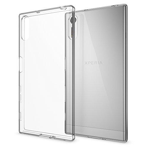 NALIA Handyhülle kompatibel mit Sony Xperia XZ, Slim Silikon Motiv Case Phone Cover Crystal Schutzhülle Dünn Durchsichtig, Etui Handy-Tasche Backcover, Transparenter Bumper - Transparent