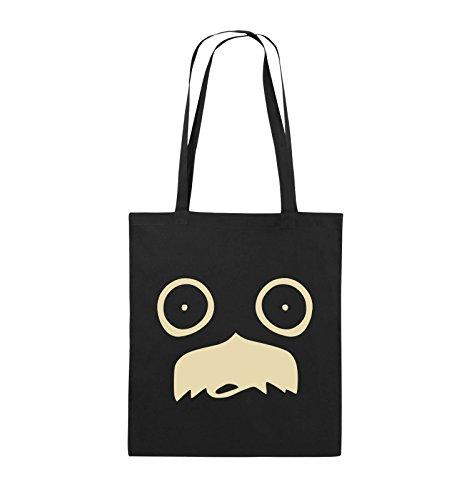 Comedy Bags - GESICHT SCHNURRBART - COMIC - Jutebeutel - lange Henkel - 38x42cm - Farbe: Schwarz / Silber Schwarz / Beige