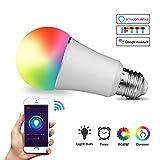 Wifi Lampe Alexa, WeCraft Smart Led Lampe Farbwechsler, WLAN Glühbirne Smart Home Lampe Smartphone gesteuert, arbeitet mit Alexa, Google Home Fernbedienung von iOS & Android, Hue Lamp E27 8W 850 Lumen