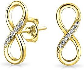 Bling Jewelry Plata esterlina CZ del símbolo del infinito Figura 8 Pendientes Stud