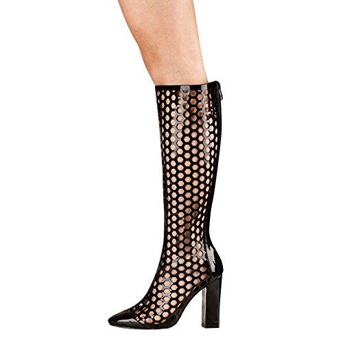 Damen Sandalen Knie Hoch Stiefel High-Heels Blockabsatz Lackleder Hohl Reißverschluss Schwarz