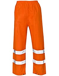 Islander Fashions High Visibility Pantal�n Impermeable para Hombres Pantalones de Trabajo de Lluvia reflectiva S / 5XL