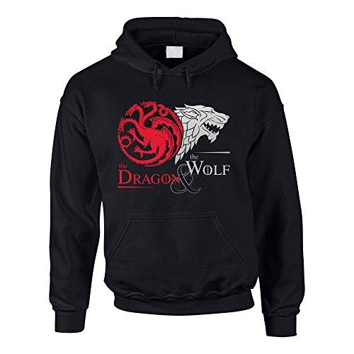 Game of Thrones - The Dragon & The Wolf - Targaryen & Stark - Got Herren Hoodie - von Shirt Department, XXXL, Schwarz-Silber