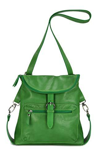Belli ital. Echt Leder Rucksack Backpack London Handtasche Umhängetasche Rucksacktasche grün - 28x26x10 cm (B x H x T)