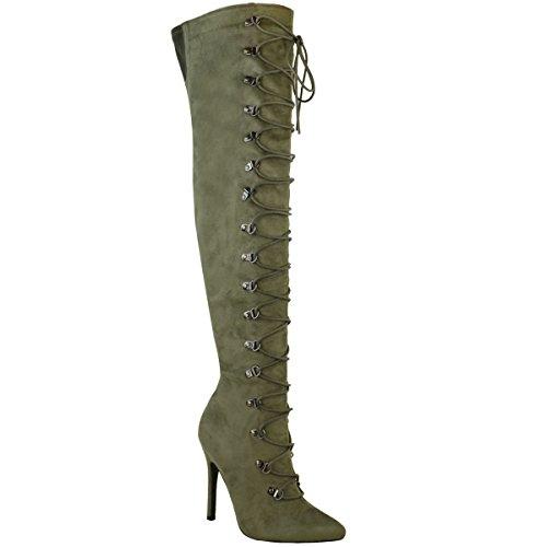 Damen Hoch Schenkelhoch Overknee Stiletto Stiefel Schnürschuh Schuh Größe Khaki Grün Kunstwildleder