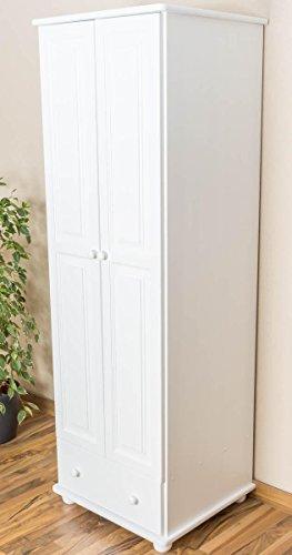 Landhaus-Stil Kiefer-Kleiderschrank massiv Weiß 195x65x59 cm