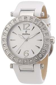 Festina - F16645/1 - Montre Femme - Quartz Analogique - Aiguilles lumineuses - Bracelet Cuir Blanc
